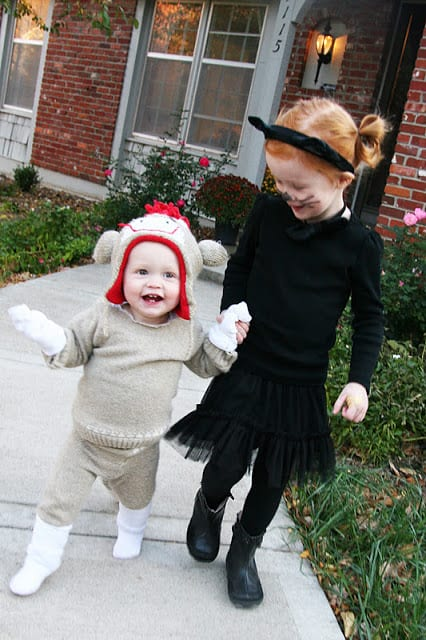 Searching for easy DIY Halloween Costumes: Look no further with this adorable sock monkey made out of a sweater!