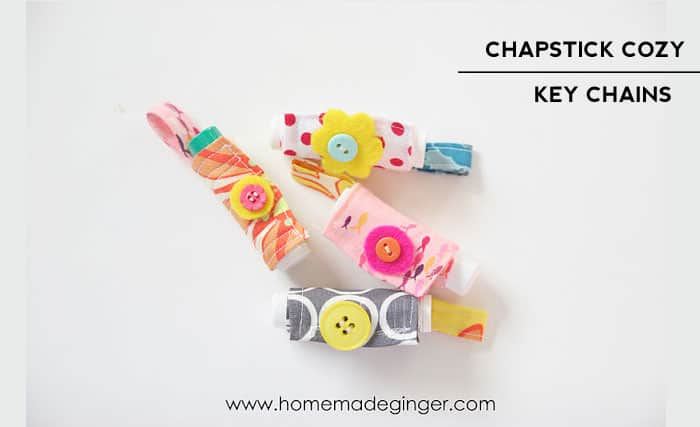 Make a cute chapstick cozy to keep on your key chain! Perfect for a teacher gift or stocking stuffer