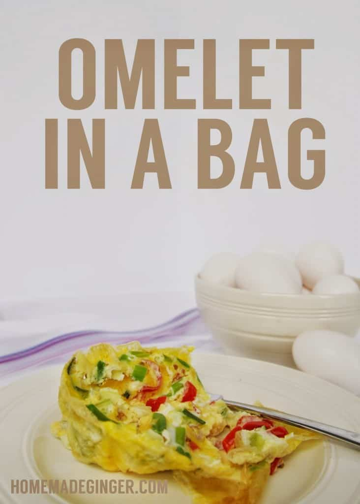 omelet in a bag, camping, eggs