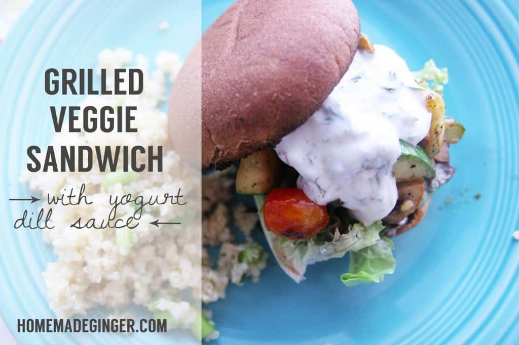 The perfect summer recipe! Grilled veggie sandwich with yogurt dill sauce. These are AMAZING!!!