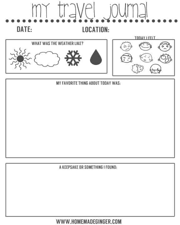 Universal image within travel journal template printable