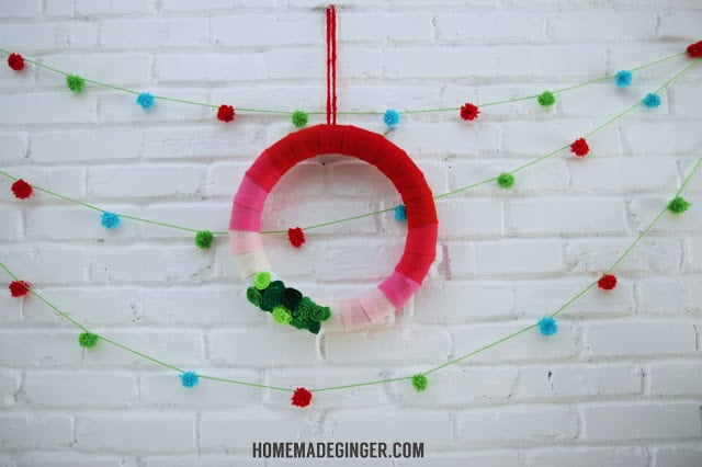 Make a simple DIY Christmas wreath using felt in ombre colors. It's modern, unexpected and super easy!