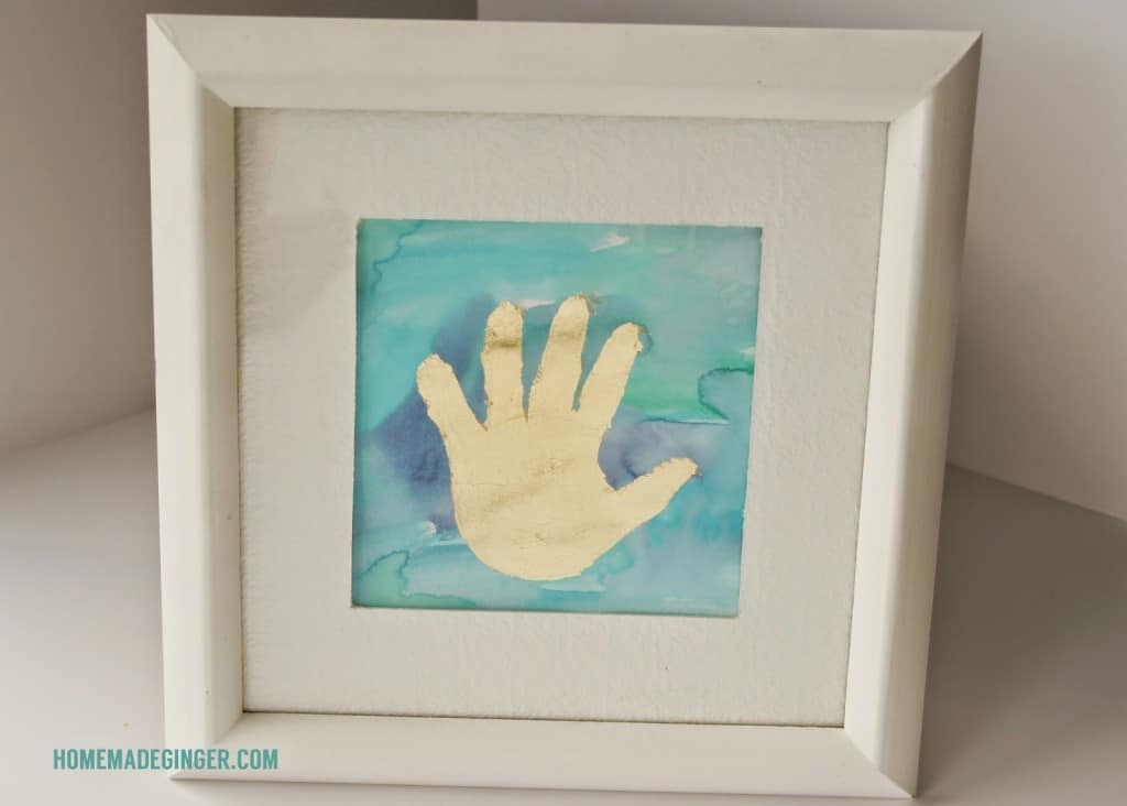 Gold Leaf, Watercolor, Handprint, Mother's Day, Gilded