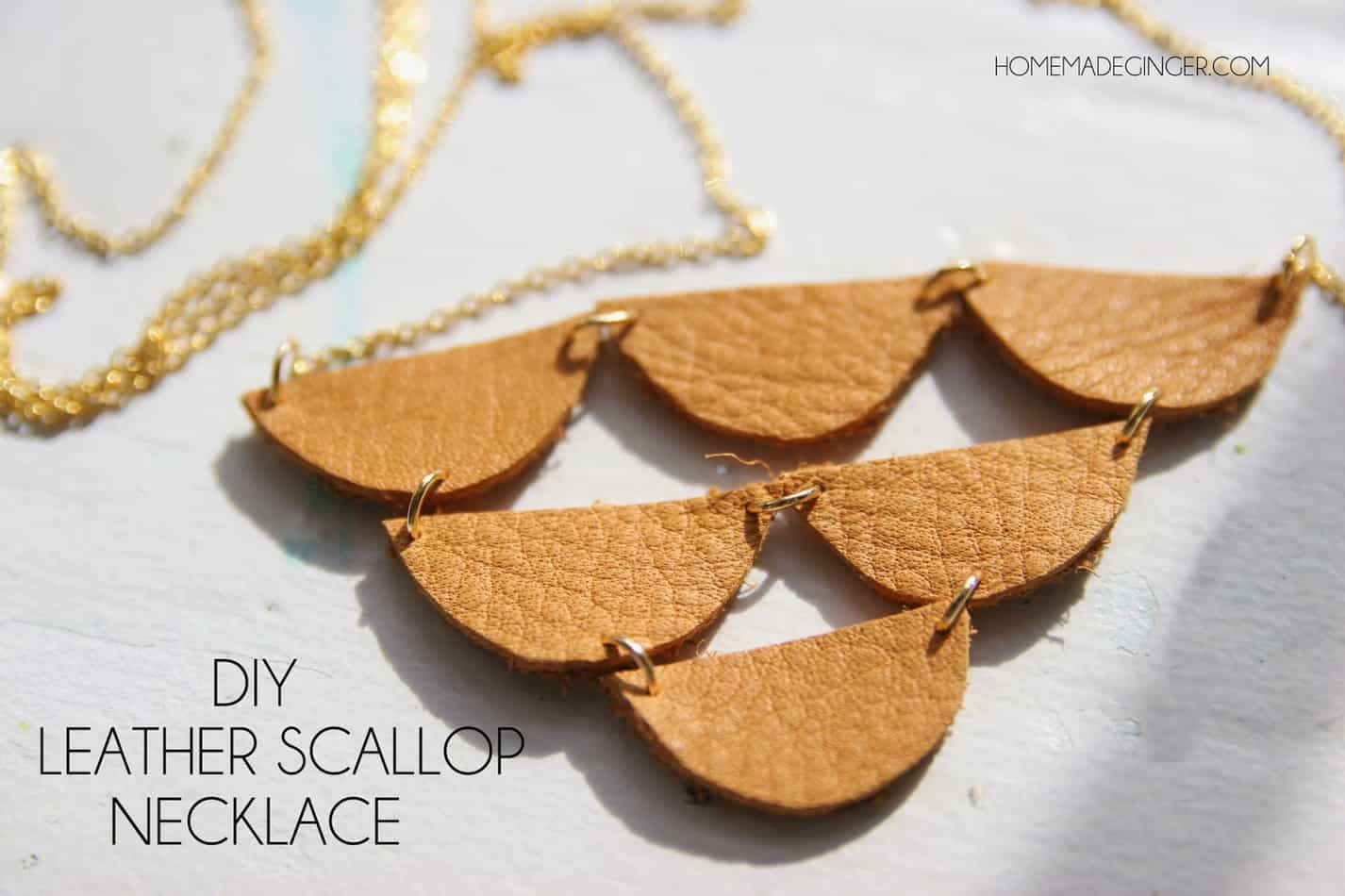 Diy leather scallop necklace homemade ginger for Leather shapes for crafts