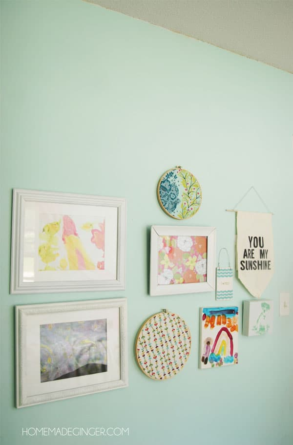 Little girls bedroom gallery wall