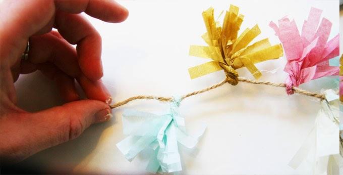 Tissue paper tassel planter
