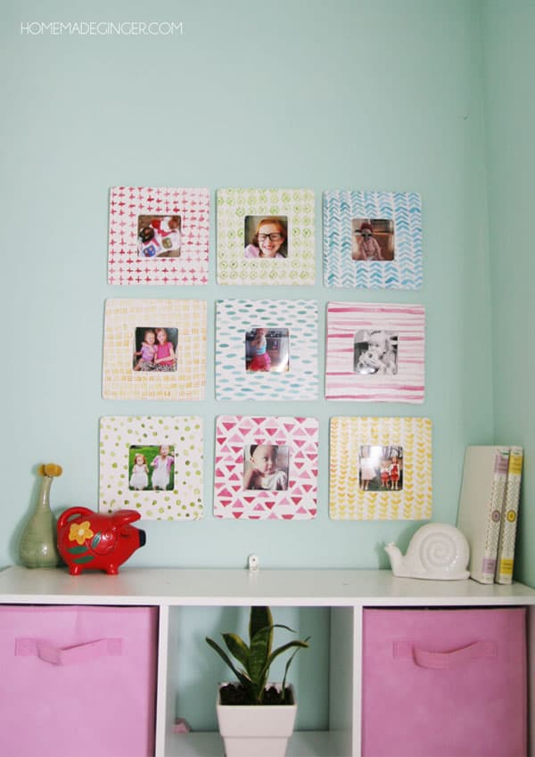 Make these beautiful watercolor frames using $1 wooden frames and dressing them up for a beautiful gallery wall.