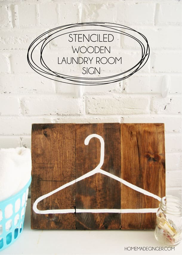 Stenciled wooden laundry room sign using glad press 'n seal!