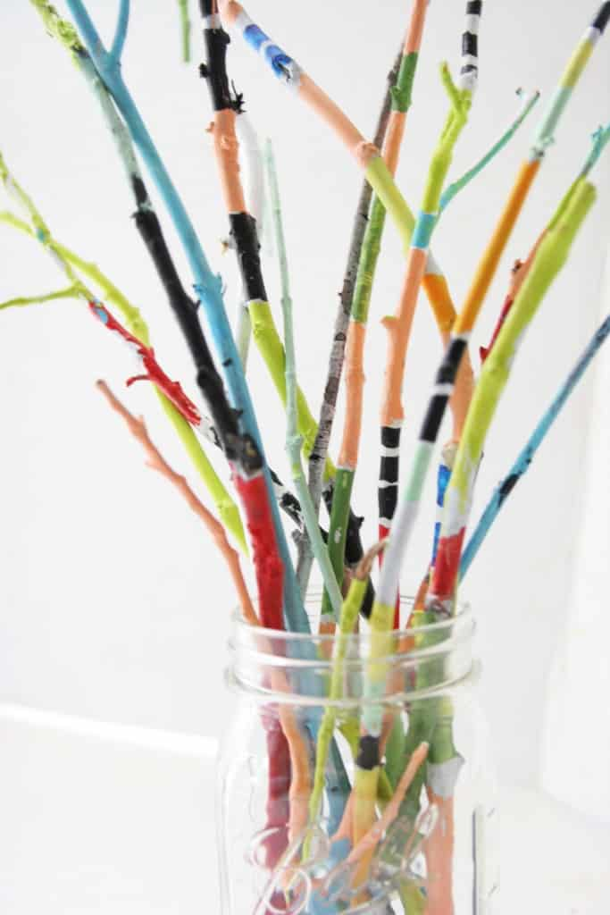 Painted twig bouquet - great craft for kids!
