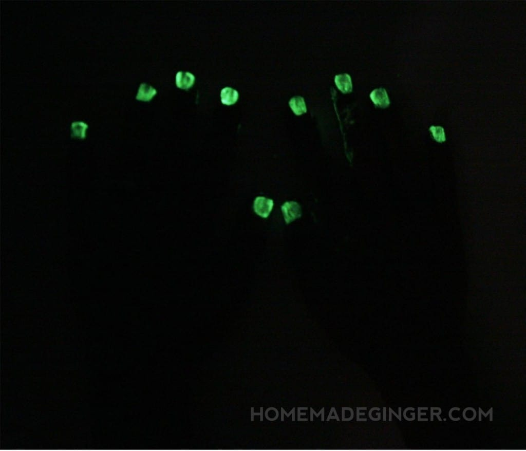 Make some DIY nail design by making your own glow in the dark nail polish! Any color of polish can glow when the lights are low!