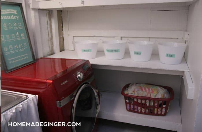 I just recently made over an unfinished basement laundry room for less than $100. Dollar store crafts like these DIY storage bins helped me save a ton!