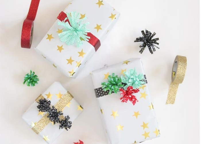 Gift Wrapping Ideas: Washi Tape Pom Poms