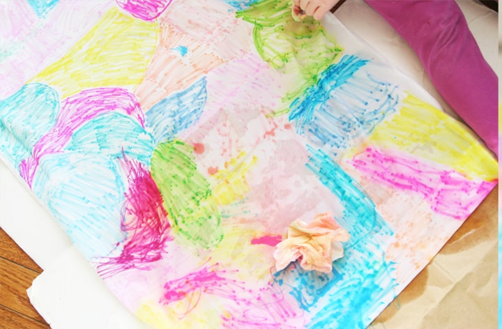 Create DIY pillowcases using Sharpies and alcohol to create a beautiful watercolor effect!