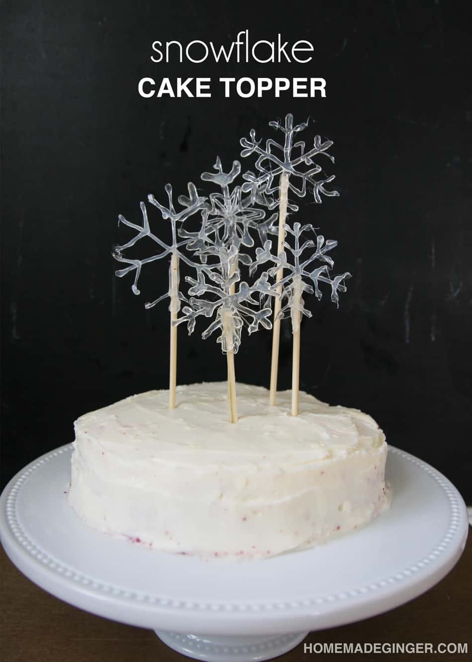 Make some snowflake cake toppers using hot glue. This will make a beautiful  DIY cake