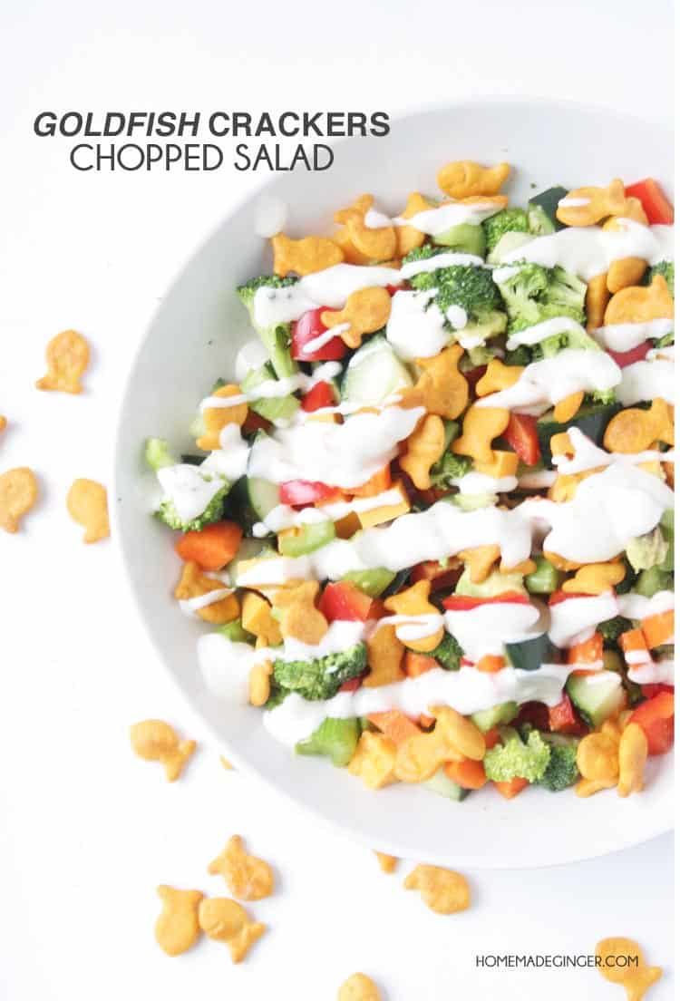 Make a kid friendly chopped salad using their favorite veggies and Goldfish to top it off!