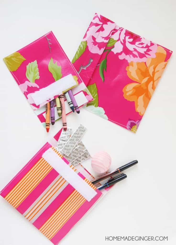 Make some DIY velcro pouches out of a reusable shopping bag! So easy!!