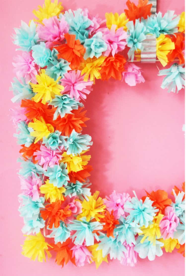 Paper flower wreath homemade ginger make a beautiful paper flower wreath out of crepe paper this is the perfect diy izmirmasajfo