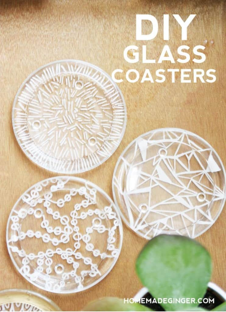 Turn small glass candle plates into DIY coasters! This easy and modern tutorial for DIY coasters is so quick and cheap to make!