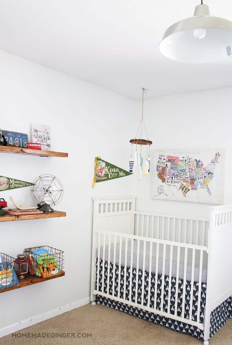 A vintage camping themed baby boy nursery full of money saving DIY projects and tips!!