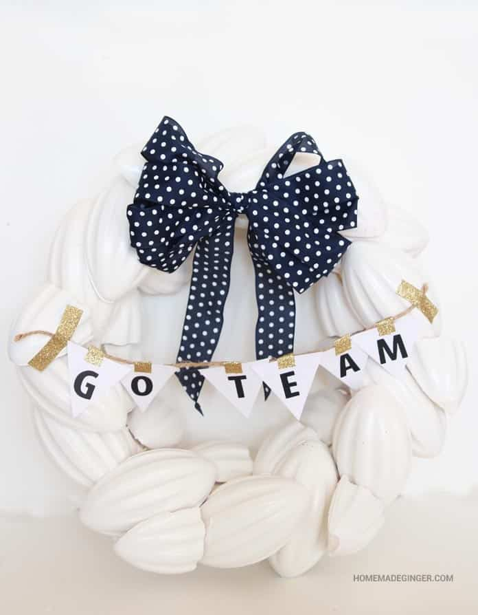 Whip up a wreath for game day using foam footballs! You can easily switch out the ribbons using velcro.