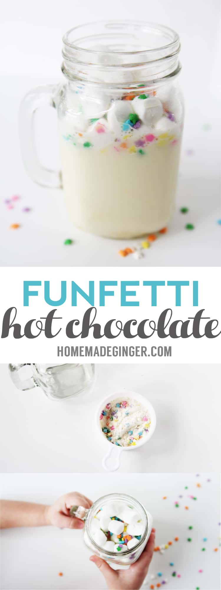 INCREDIBLE funfetti hot chocolate mix recipe! This homemade hot chocolate is so cute and crazy good!