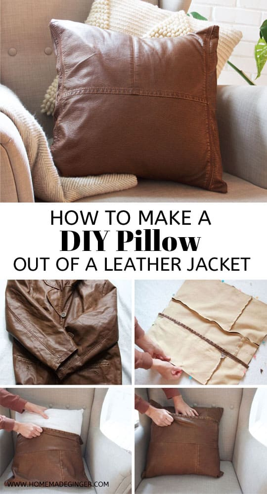 Turn a thrifted leather jacket into a DIY Leather Pillow. This DIY pillow tutorial is so simple for making some modern home decor pillows!