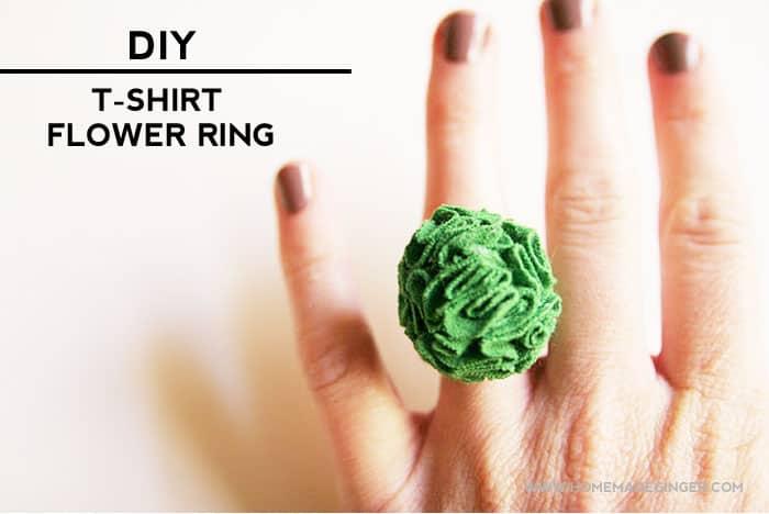Diy T-shirt Flower Ring. Great way to repurpose an old t-shirt!