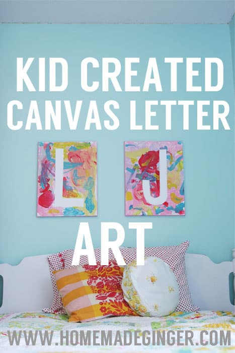 For an easy art project for kids, have them make these fun and colorful letter canvases!