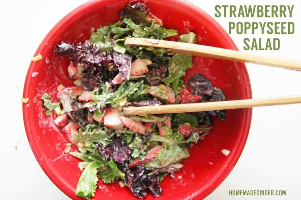 This strawberry poppyseed spinach salad is just amazing! It's the perfect recipe for spring and summer!