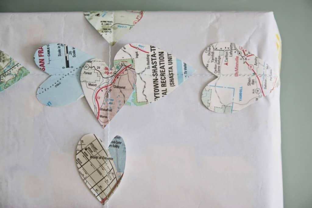 DIY map garland gift wrap