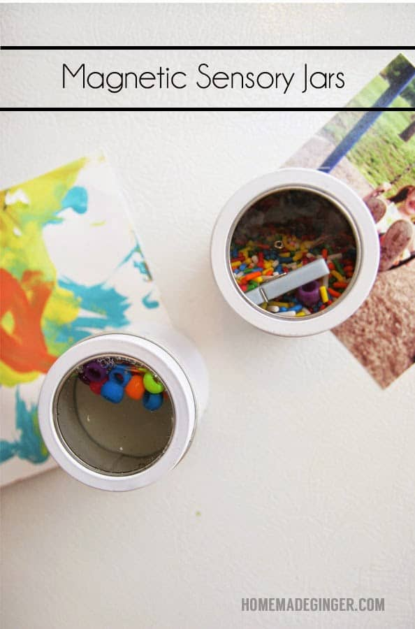 Magnetic sensory jars - great way to keep toddlers occupied in the kitchen!