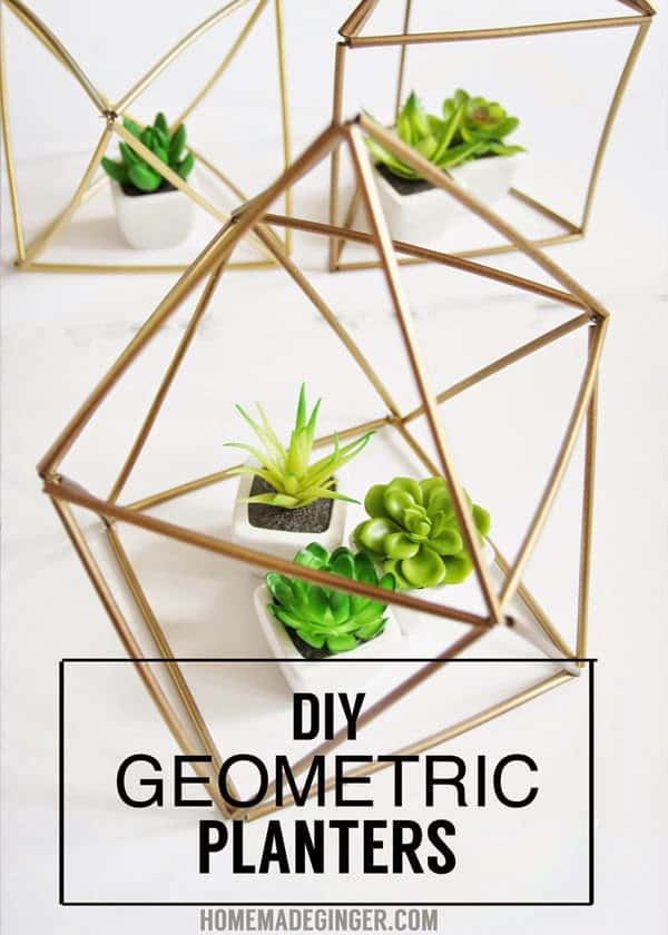 Learn how to make DIY geometric planters out of straws and wire! This little geometric craft is so easy and cheap to whip up!