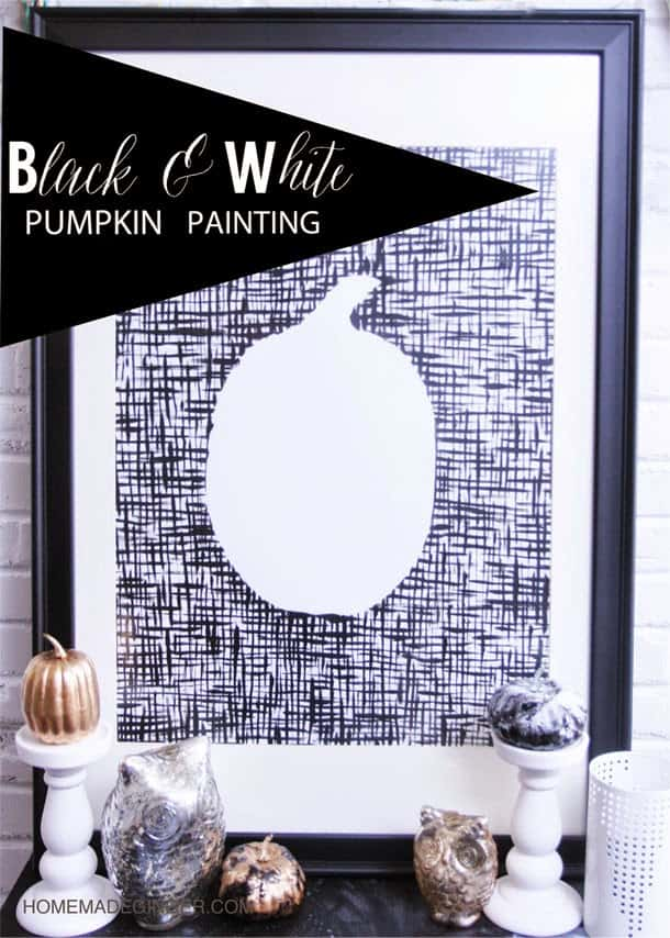 black and white pumpkin painting