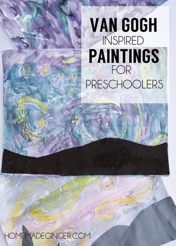 Van Gogh inspired paintings for preschoolers