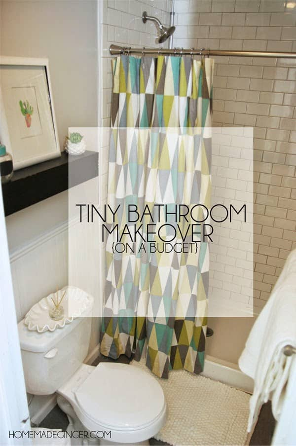 Learn all the tips and tricks on how to makeover a tiny bathroom on a budget!