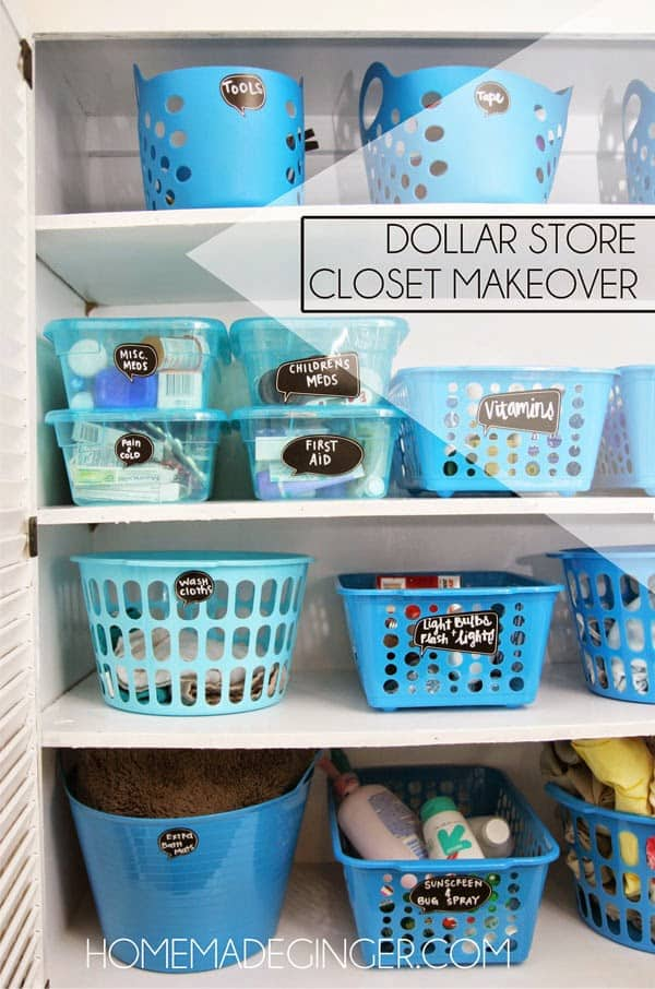 If you need tips for Dollar Tree closet organization, then this before and after will inspire you! This linen closet was transformed for under $20!