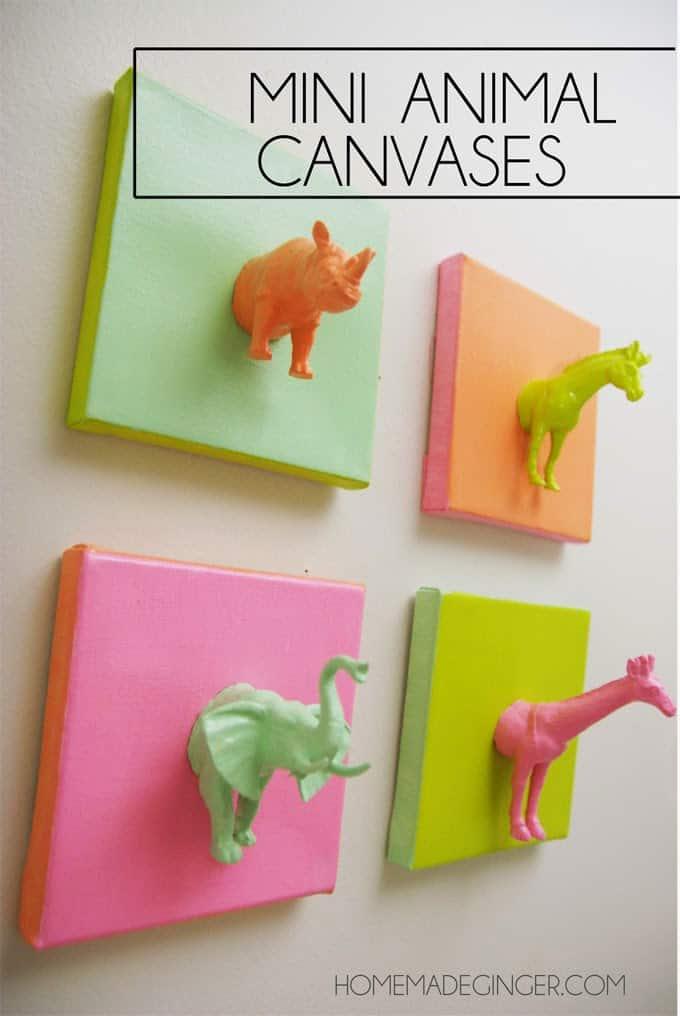 DIY Art: Mini Animal Canvases