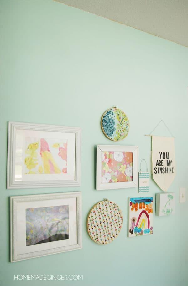 Little girls bedroom gallery wall
