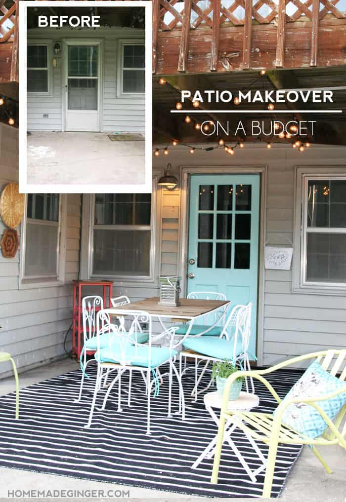 Patio Makeover on a budget. Lots of DIY's and thrift store finds complete this patio look!