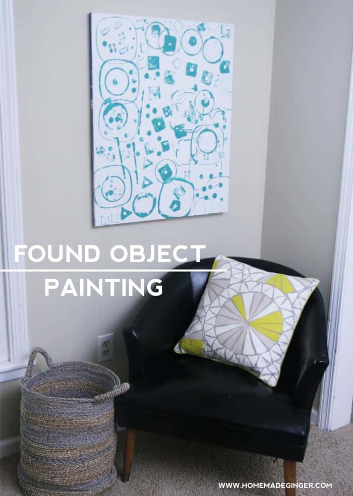 Create a found object painting with your kids by using objects around the house as stamps!