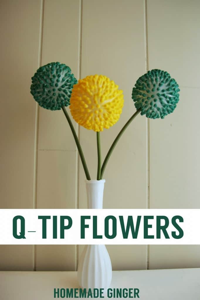 Make some adorable flowers with q-tips and food coloring!