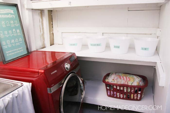 Basement Laundry Room Makeover! Transform your unfinished basement laundry room with a tiny budget using these laundry room ideas and DIYs!