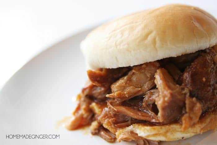 The absolute BEST pulled pork sandwich! Slow Cooker Pineapple BBQ Pork!