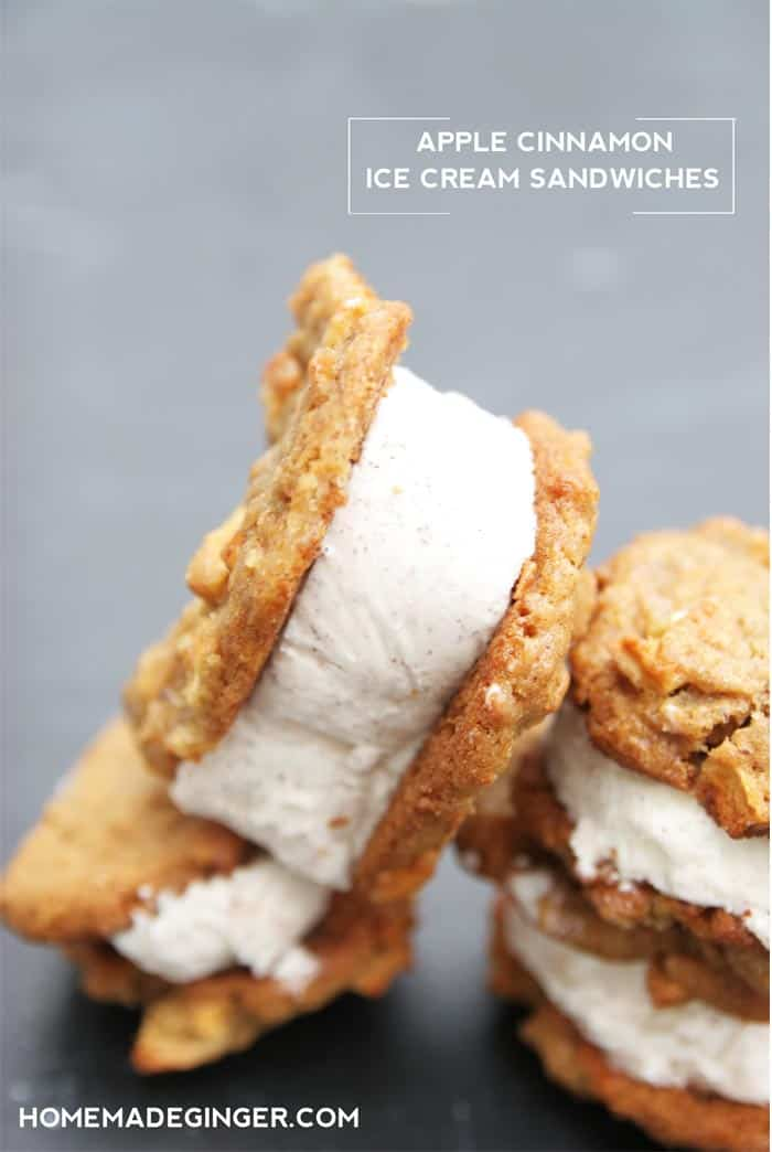 These apple cinnamon ice cream sandwiches only require 3 INGREDIENTS! They are SO amazing for fall!