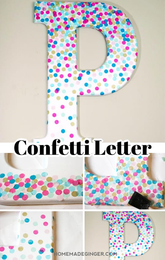 Make some DIY wall letter by decorating a letter with confetti. This is perfect for some DIY nursery decor and can be customized to fit any color scheme!