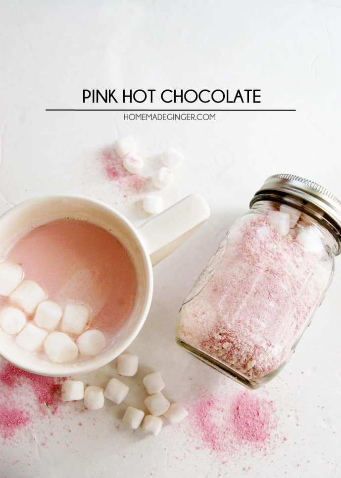 Mix up some pink hot chocolate with just a few ingredients! This hot chocolate mix would make a cute gift in a mason jar!