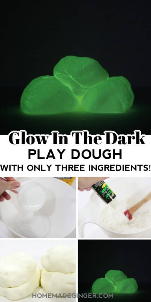 Learn how to make glow in the dark play dough with just three ingredients. This recipe is mess-free and will keep kids busy on a rainy day!
