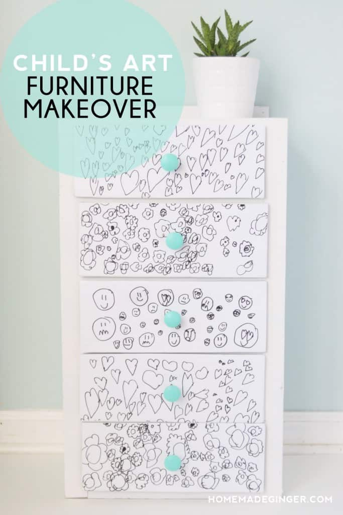 Take a kids drawing and transform a piece of furniture into something fun and funky. A great way to preserve child's artwork forever. Great for a nursery or child's room!