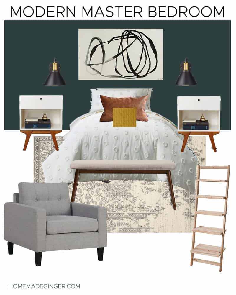 This modern master bedroom mood board is moody and minimal!