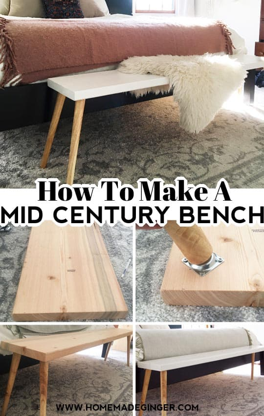 It's simple to make a mid century modern bench with just a handful of supplies. Anyone with a little bit of DIY experience can make a beautiful Mid Century Bench for their home in an afternoon! This bench took about 30 minutes to put together and cost less than $40.